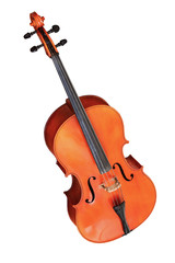 classical musical instrument cello isolated on white background