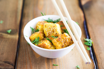 Fried Tofu with Sesame Seeds
