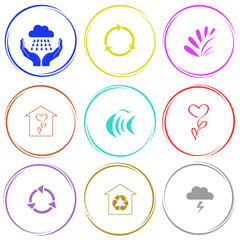 weather in hands, recycle symbol, plant, flower shop, fish, prot