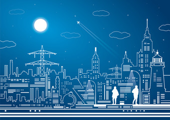 Neon city, white lines, night town, vector design art