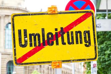 Umleitung Ende - Straßenschild