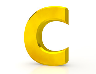 the Gold letter C on white background 3d rendering