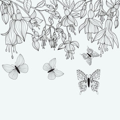 Hand drawn texture with Fuchsia flowers and butterflies.