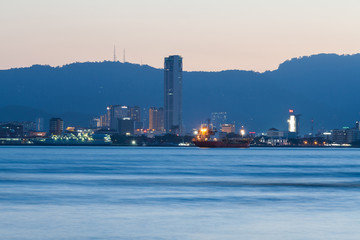 George Town City high rise building view with mountain and sea, Penang Malaysia