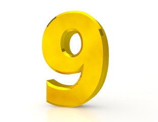 3d Gold number 9 on white background
