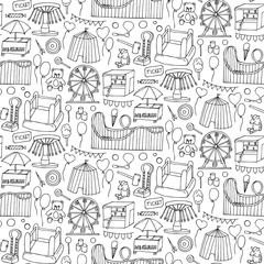 Attraction doodle sseamless pattern