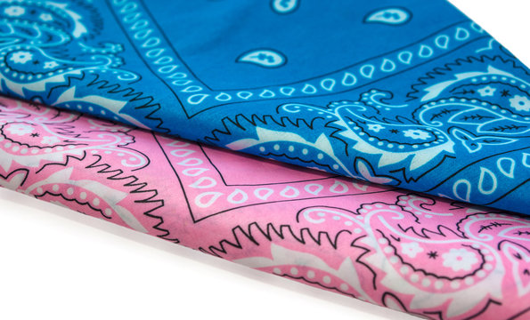 blue and pink bandanna isolated