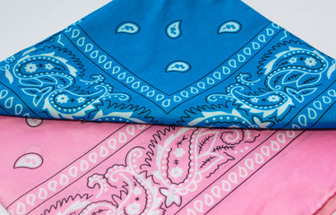 blue and pink bandanna on white background
