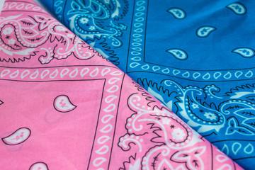 blue and pink bandanna