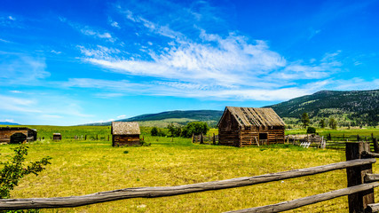 Old and dilapidated farm buildings in the countryside of the Lower Nicola Valley near Merritt British Columbia, Canada