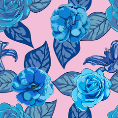 floral pattern in boho chic style.
