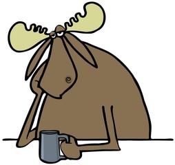 Depressed moose drinking coffee