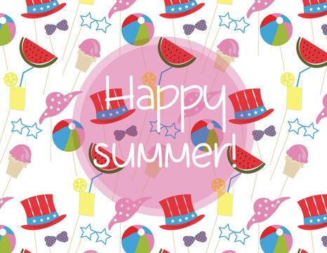 Summer time Holidays pattern with ice cream, toys, hats. Happy Holidays joyful pattern