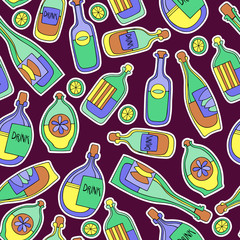 Different cartoon bottles. Vector seamless pattern.