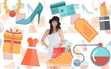 Composite image of pretty woman with shopping bags