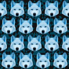 Abstract polygonal geometric blue wolf seamless pattern backgrou