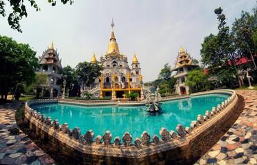 Garden Poster Temple Buu Long pagoda at Ho Chi Minh City, Vietnam, near Suoi Tien Theme Park.