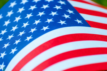 Closeup of American flag. Symbol of the United states of America