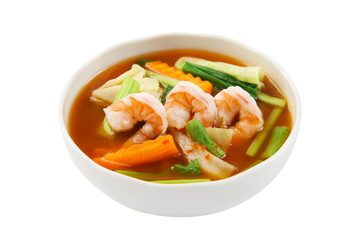 hot and sour soup with shrimp and vegetables, Thai Food