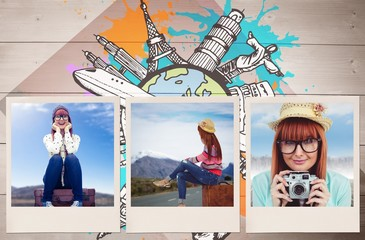 Composite image of smiling hipster woman sitting on suitcase