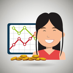 woman with statistics graphic  and coins isolated icon design, vector illustration  graphic