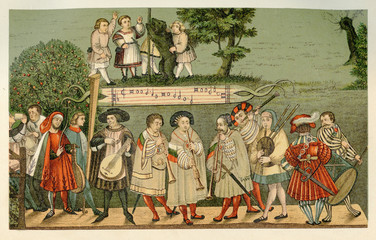 Renaissance minstrels playing in Augsburg