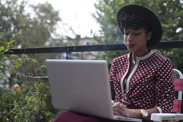 Young woman working on a laptop
