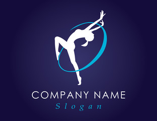 Gymnastics logo blue background