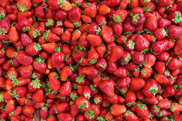 Fresh ripe perfect strawberry. Top view, High resolution product.