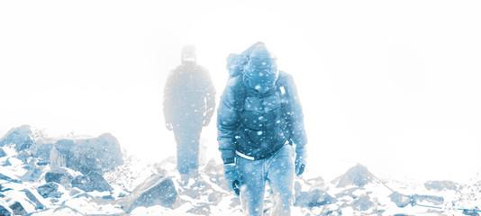 Trail into blizzard