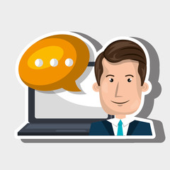 person communicating online isolated icon design, vector illustration  graphic