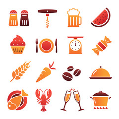 Colored Shaded Food Icons Collection