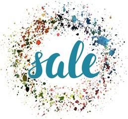 'Sale' vector sign, in brushpen lettering, with watercolor backg
