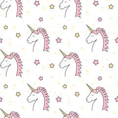 cute cartoon unicorn seamless vector pattern background illustration with stars
