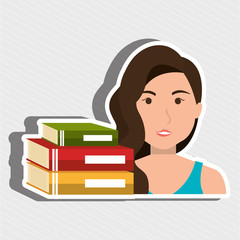 student with  books isolated icon design, vector illustration  graphic