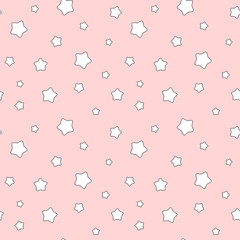 cute cartoon white stars on pink background seamless vector pattern illustration