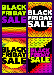 Black Friday sale design on geometric bright backgrounds, vector