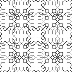 Delicate Seamless pattern with geometric flowers in Arabic style