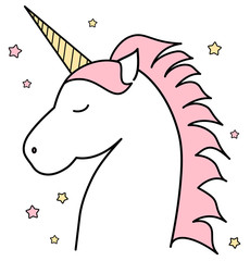 cute cartoon unicorn vector illustration