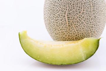Melon slices on white background.Fruit slices.