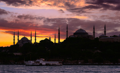 Istanbul at sunset in silhouette