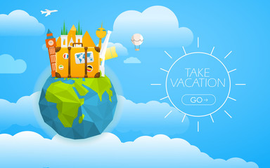 Vacation travelling concept. Vector travel illustration with dif