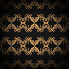 Quilted seamless pattern. Black color. Golden metallic stitching on textile.