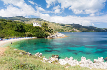 amazing beach in Kassiopi in Corfu island, Greece