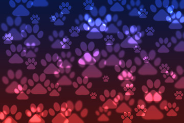 Blue-Red Dog paw bokeh background