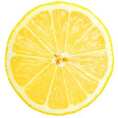 fresh lemon slice over white