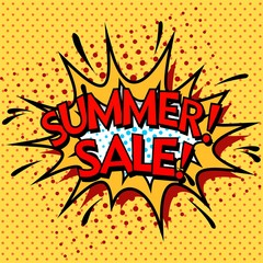 Color  summer sale banner.  Pop art, comic book style.