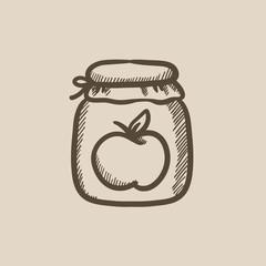 Apple jam jar sketch icon.