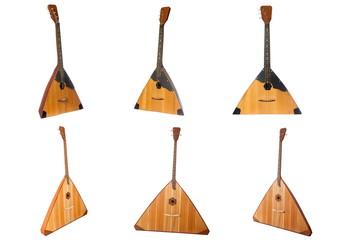 balalaika Russian folk musical instrument yellow isolated on white background