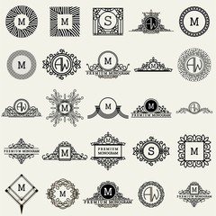 Vintage Monogram Logos Design Templates Big Set. Vector logotypes elements collection, Icons Symbols, Retro Labels, Badges, Silhouettes.